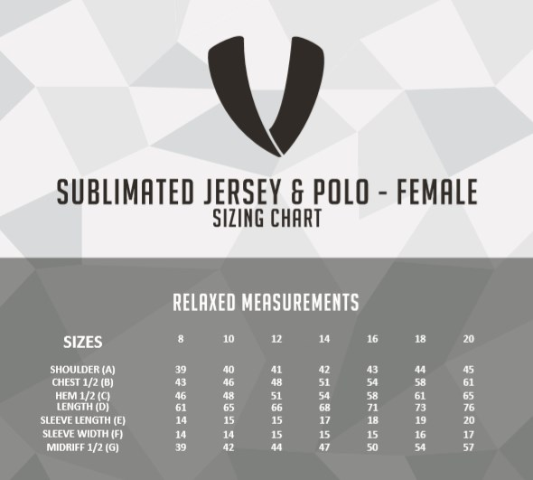 Veto size chart ladies polo